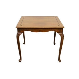 20th Century Traditional Davis Cabinet Solid Walnut Square Dining Table For Sale