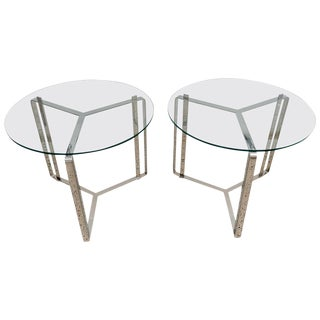 Glass and Steel Round End Tables Style of Milo Baughman - a Pair For Sale