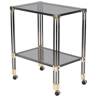 Nickel, Brass and Smoked Glass Bar Cart/Serving Table, France 1970s