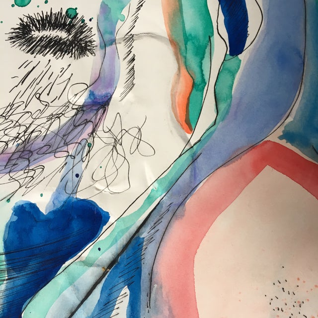 Abstract Abstract Portrait Watercolor Mixed Media Painting For Sale - Image 3 of 4