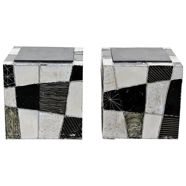 1970s Mid-Century Modern Paul Evans Argente Cube Chrome Slate Side Tables - a Pair For Sale