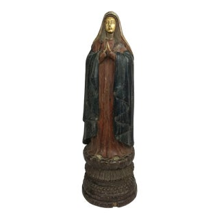 Vintage Carved Wood, Paint & Gesso Praying Woman Statue For Sale