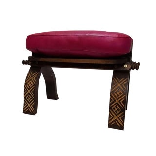 Fuchsia Moroccan Handmade Leather Bench For Sale