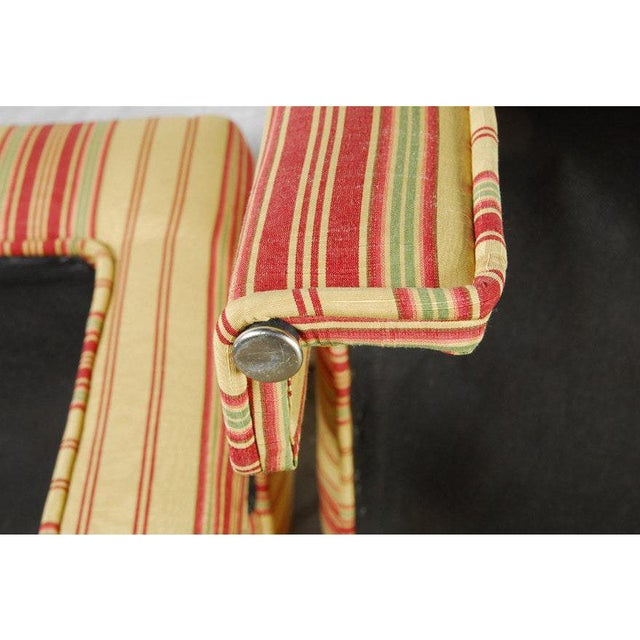 Pair of Yellow, Red, and Green Stripe Custom Upholstered Benches For Sale - Image 4 of 7