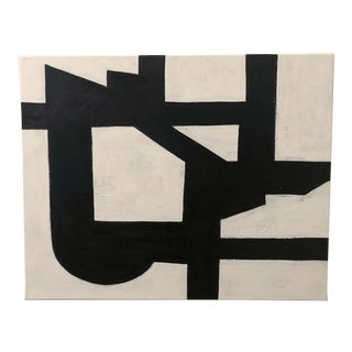 Original Abstract Geometric Black and White Painting For Sale