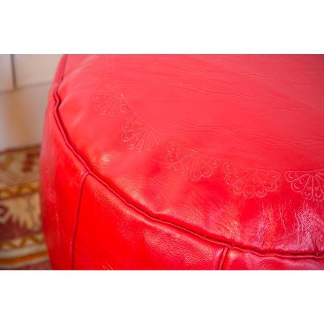 Antique Cherry Red Leather Moroccan Pouf Ottoman For Sale - Image 9 of 10
