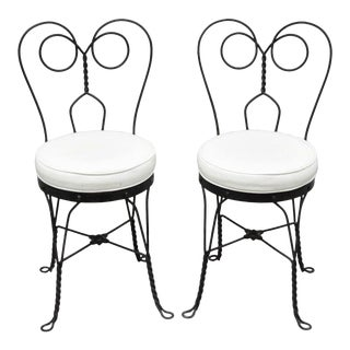 Early 20th Century Antique Twisted Heart Back Wrought Iron Ice Cream Parlor Dining Chairs- A Pair For Sale