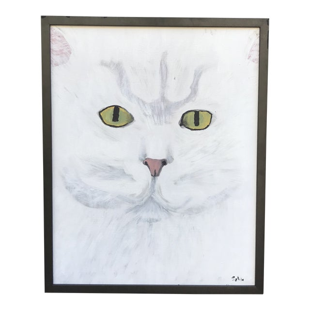 Late 20th Century Modernist Style Cat Painting, Framed For Sale