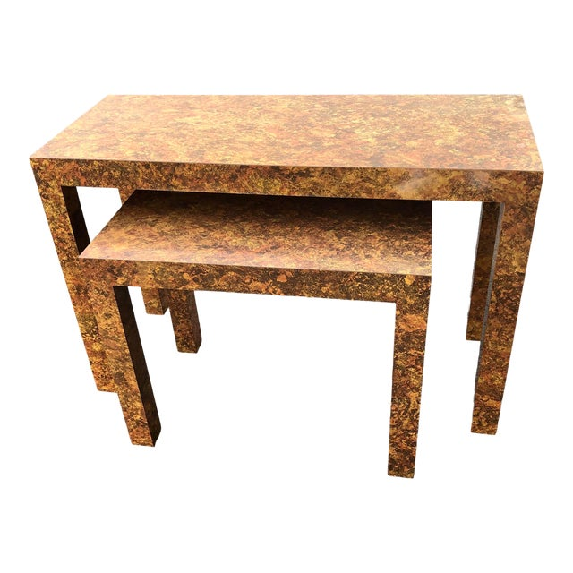 Milo Baughman Inspired Faux Burlwood Parsons Style Nesting Console Tables - Set of 2 For Sale
