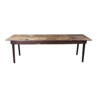 "Primitive Antique Rustic Pine Farmhouse Harvest Dining Library Table Desk 96"" For Sale"