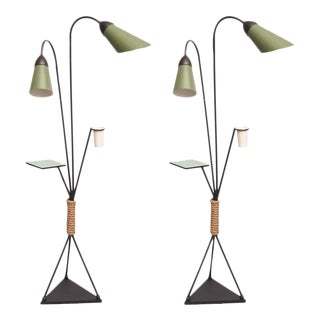 Pair of Italian Iron and Aluminum Floor Lamps With Shelf & Bud Vase, Italy For Sale