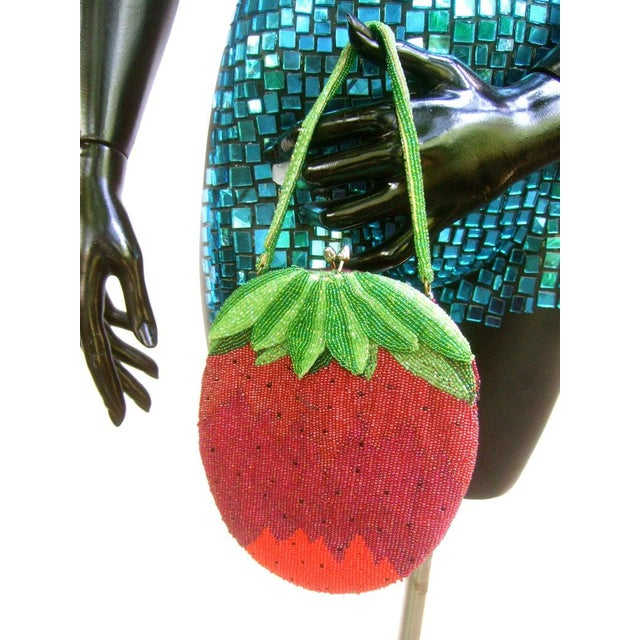 Whimscial glass beaded strawberry evening bag c 1970 The unique evening bag is embellished with intricate glass beads...