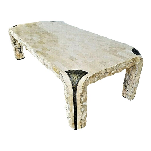 1980s Maitland Smith Tessellated Mactan Stone + Brass Coffee Table For Sale