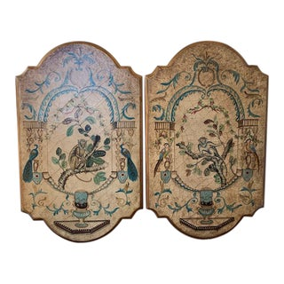 Chinoiserie Hand Painted Wood Plaques with Monkeys & Birds - a Pair For Sale