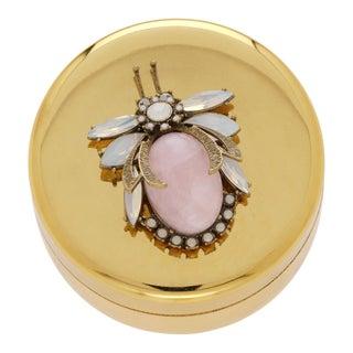 Rose Quartz Vintage Bug Jewelry Box For Sale