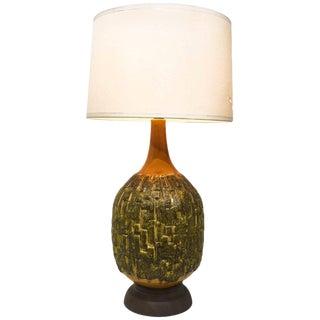 1970s Vintage Oversized Brutalist Ceramic Table Lamp