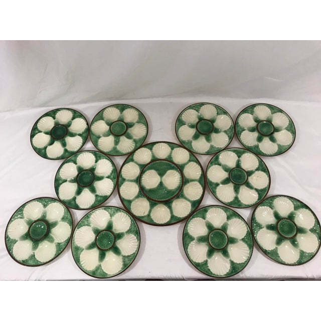 Green Longchamps Oyster Service + Platter a Set For Sale - Image 8 of 8