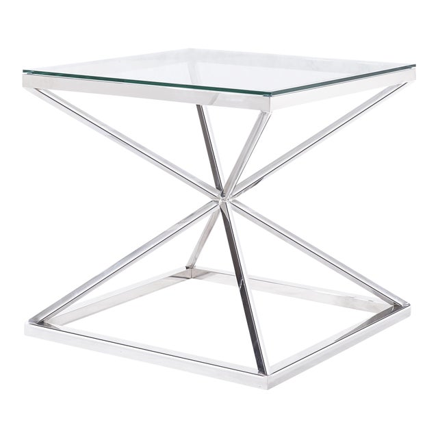 Blink Home Silver Cross Side Table For Sale