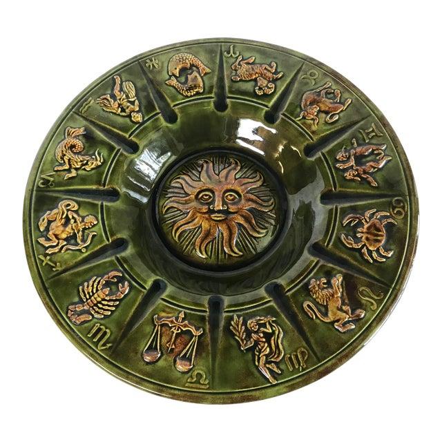 Vintage Ceramic Zodiac Ashtray For Sale