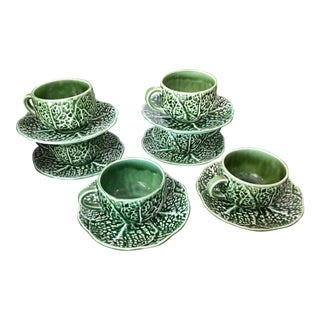 Portuguese Majolica Tea Coffee Cups & Saucers - Set of 6 For Sale
