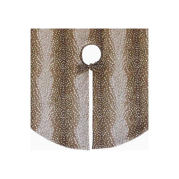 """Only One Left!!! X-Large 55"""" Custom Tailored Deer Fawn Velvety Chenille Christmas Tree Skirt - Image 4 of 9"""