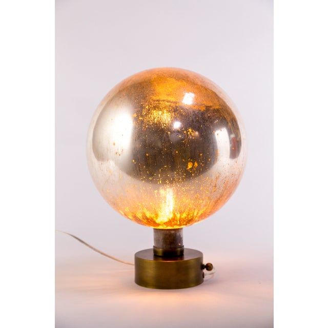 Mercury Glass Sphere Table Lamp For Sale - Image 9 of 13
