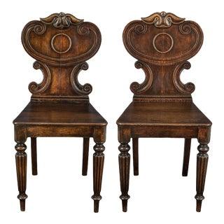 1820s Antique Regency Period Oak Hall Chairs - a Pair For Sale