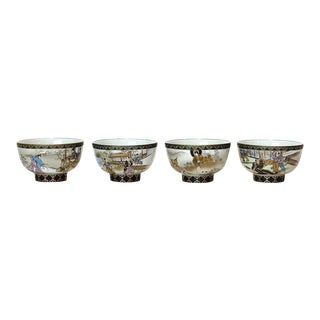 Meiji Period Japanese Kutani Ceremonial Tea Bowls With Scenes in the Satsuma Style by Hayashiya Jisaburo - Set of 4 For Sale