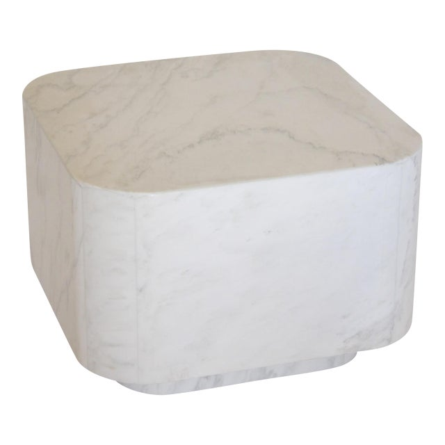White Marble Plinth Base Table For Sale
