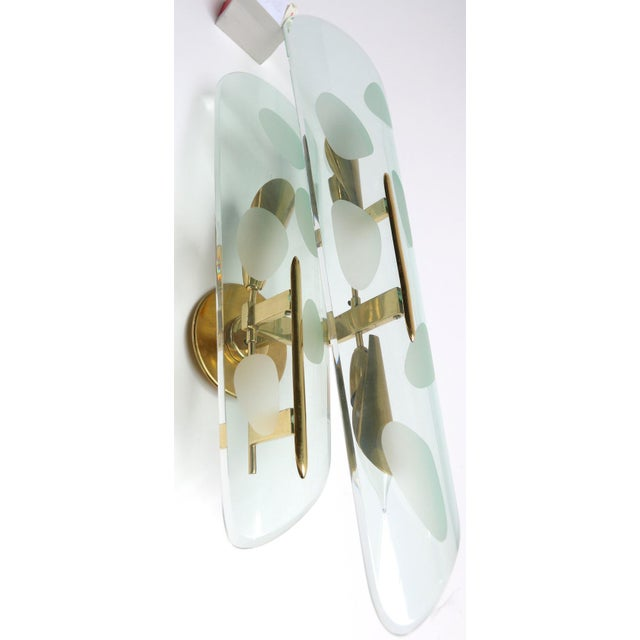Mid-Century Modern Gold and Glass Italian Sconces - a Pair For Sale - Image 3 of 7