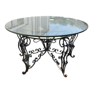 Renaissance Revival Indoor Outdoor Wrought Iron Center Table With Glass Top For Sale