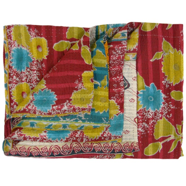 Vintage Primary Colorway Kantha Quilt - Image 1 of 3
