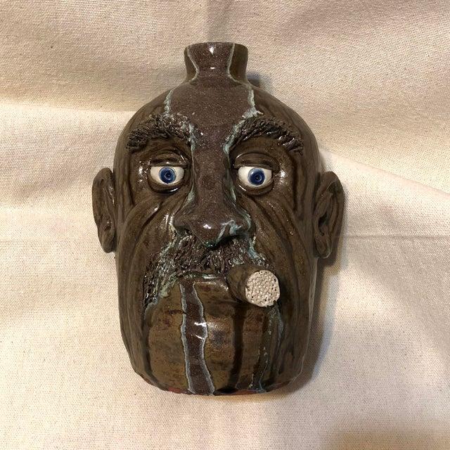 Brown 1960s Vintage Ceramic Face Jug For Sale - Image 8 of 8