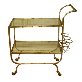 Italian Bar Cart with Gilt Metal Glass Shelves For Sale