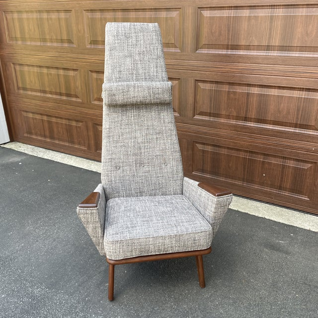High back statement piece, this chair is believed to be a 'Slim Jim' and is attributed to Adrian Pearsall. Beautiful and...