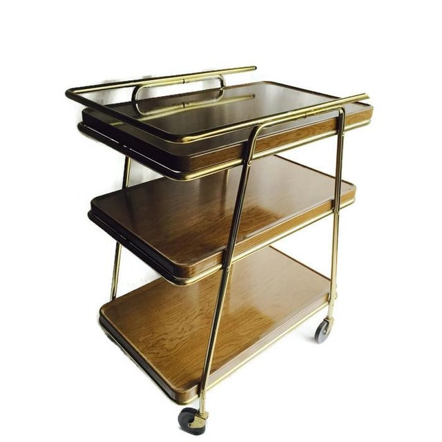 Mid-Century Atomic Age Three-Tiered Bar Cart - Image 6 of 9