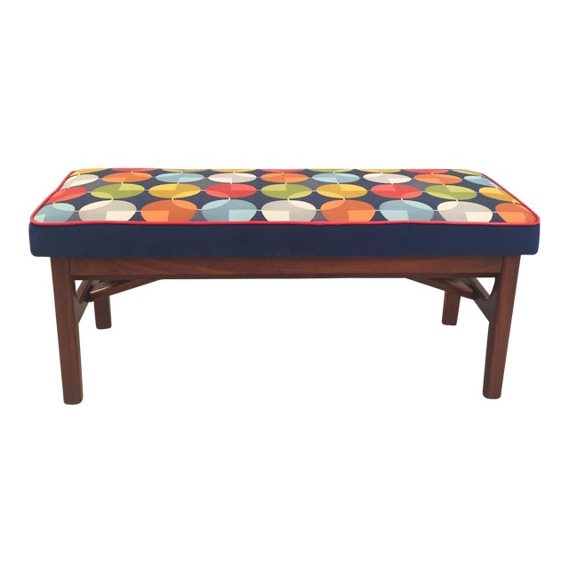Mid-Century Teak Wood Bench - Image 1 of 8