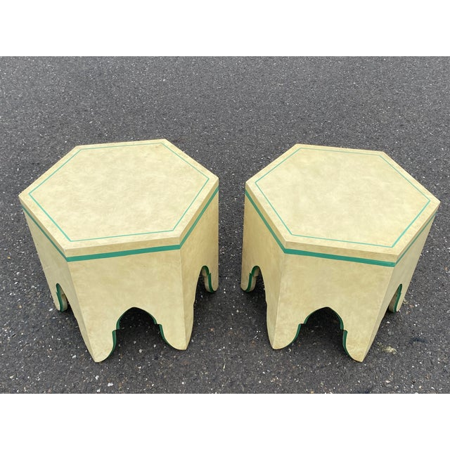 Mid-Century Modern 1960s Vintage Moroccan Hexagon Lacquered Side Tables - a Pair For Sale - Image 3 of 11