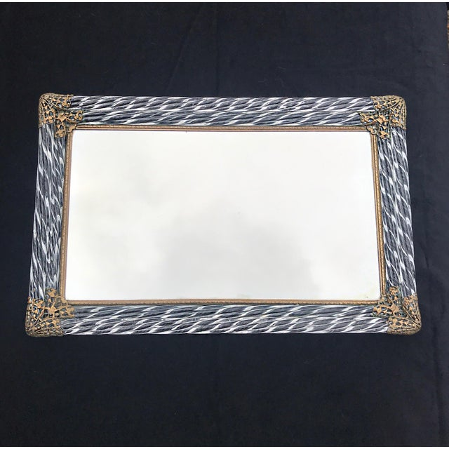 Brass Antique Art Deco Murano Double Twisted Rope Glass Mirrored Vanity Tray Filigree Corners For