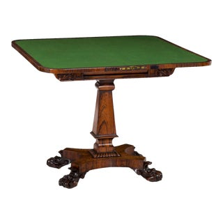 19th Century English Regency Antique Rosewood Carved Game Card Table For Sale