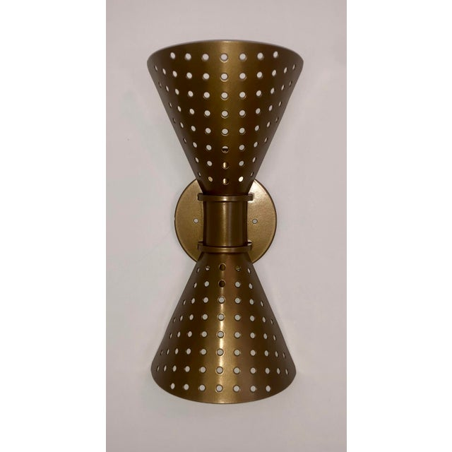 Mid-Century Modern Mid Century Modern Double Cone Reticulated Wall Light Sconce For Sale - Image 3 of 3