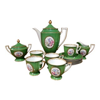 Vintage German Porcelain Royal Tettau Complete Coffee Service - 13 Pc. Set For Sale