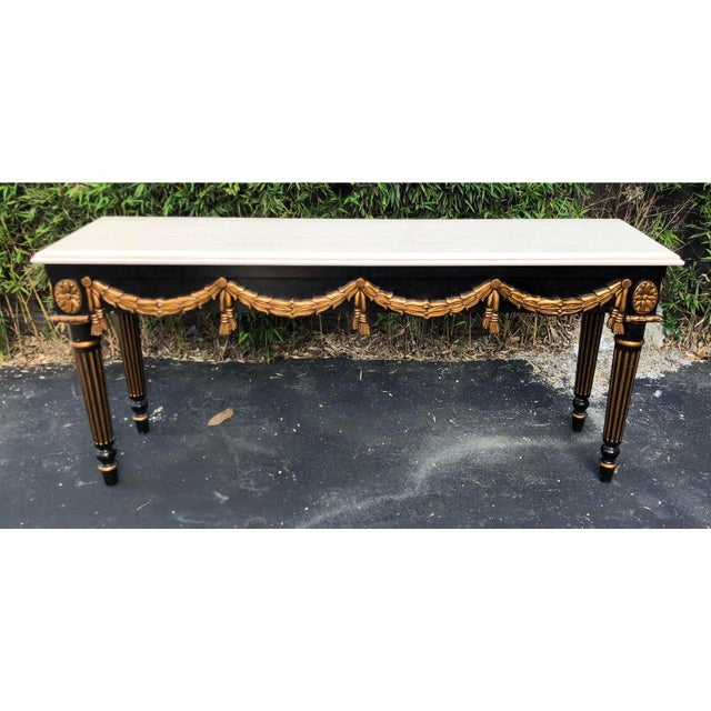 Black & Gold Louis XVI Style Console Table by Charles Pollock for William Switzer