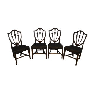 Hepplewhite Style Antique 19th Century Set of 4 Inlaid Shield Back Dining Chairs For Sale