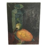 Image of 1940s Vintage Still Life Oil Painting For Sale