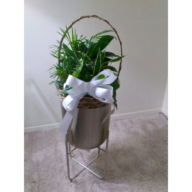 The silver contemporary metal planter is for small plants. The top outer diameter of the planter is 7.25 inches and the...