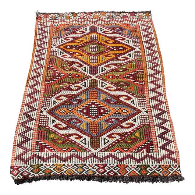 Anatolian Tribal Embroidered Kilim Area Rug -2′6″ × 3′10″ - Image 1 of 6