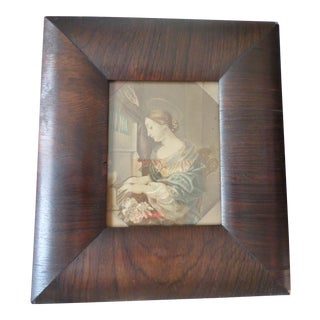 Antique Empire Mahogany Picture Frame With Angel Print For Sale