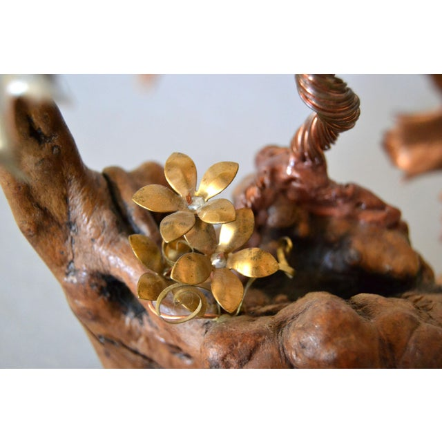 Gold Handcrafted Bonsai Tree Brass, Copper, Bronze Sculpture on Burl Wood Base For Sale - Image 8 of 13
