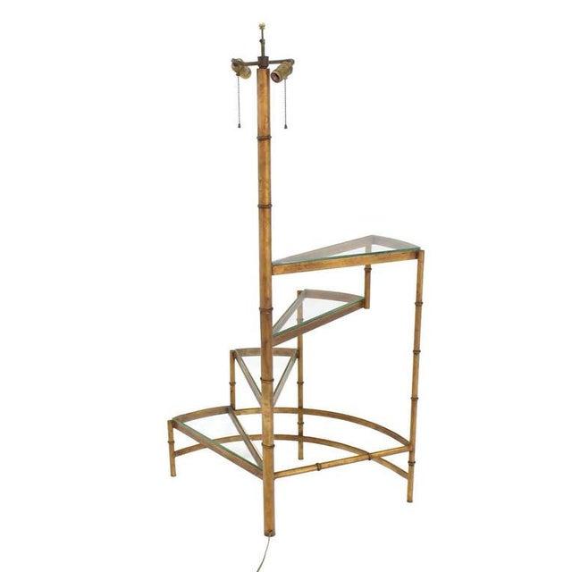 Mid-Century Modern Step Shelves Faux Bamboo Gilt Base Floor Lamp For Sale - Image 9 of 10